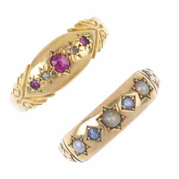 Two late Victorian gold gem-set dress rings. To include