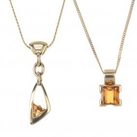 Two 9ct Gold Citrine Pendants, With Chains. To Include