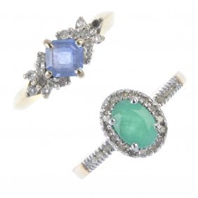 Two Gold Diamond And Gem-set Cluster Rings. To Include