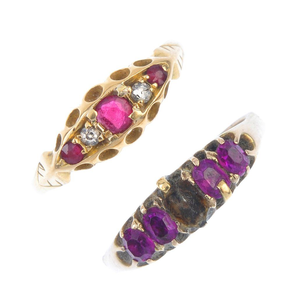 A selection of three gem-set rings. To include an opal