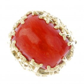 (185529) A Coral Cocktail Ring. Designed As A Coral