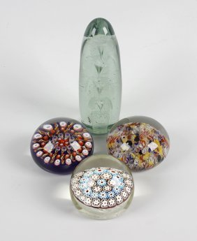 A Group Of Four Paperweights, The First Possibly Old