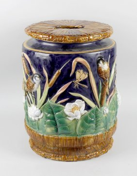 A George Jones Type Majolica Pottery Garden Seat, Of