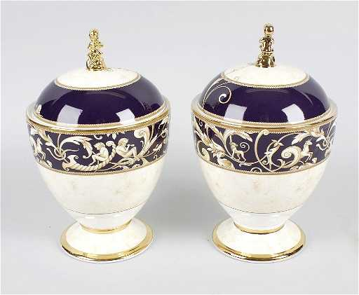 A Pair Of Wedgwood Cornucopia Urns With Covers Of