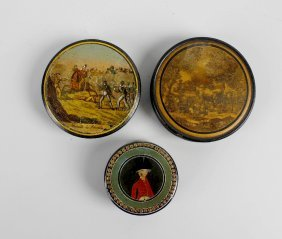 Two 19th Century Papier Mache Patch Boxes, Each With A