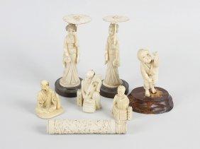 Three Carved Ivory Netsukes, A Small Ivory Figure