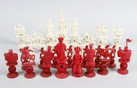 A 19th Century Chinese Canton Carved Ivory Chess Set,