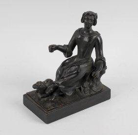 A Bronze Figure, Circa 1800 Modelled As A Shepherdess