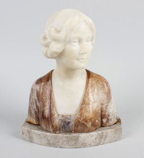 An Early 20th Century Marble Bust, Modelled As A Woman,