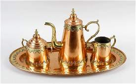 An Eastern copper four piece tea set comprising