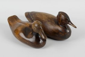 A Group Of Carved Wooden Duck Decoys And Models,