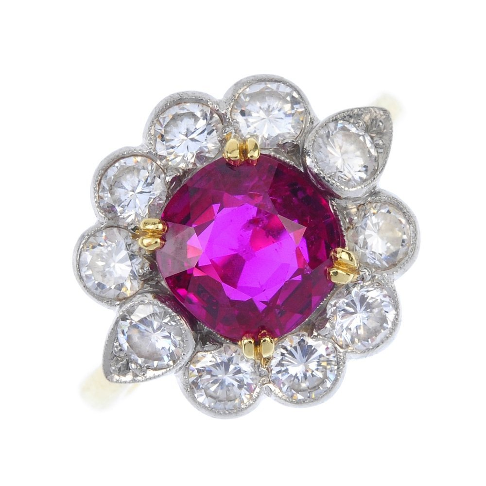 An 18ct gold Burmese ruby and diamond floral cluster