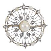 An early 20th century silver and 14ct gold split pearl