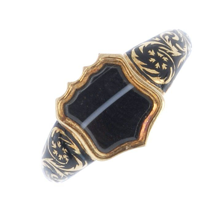 A mid Victorian 18ct gold banded agate and enamel ring.