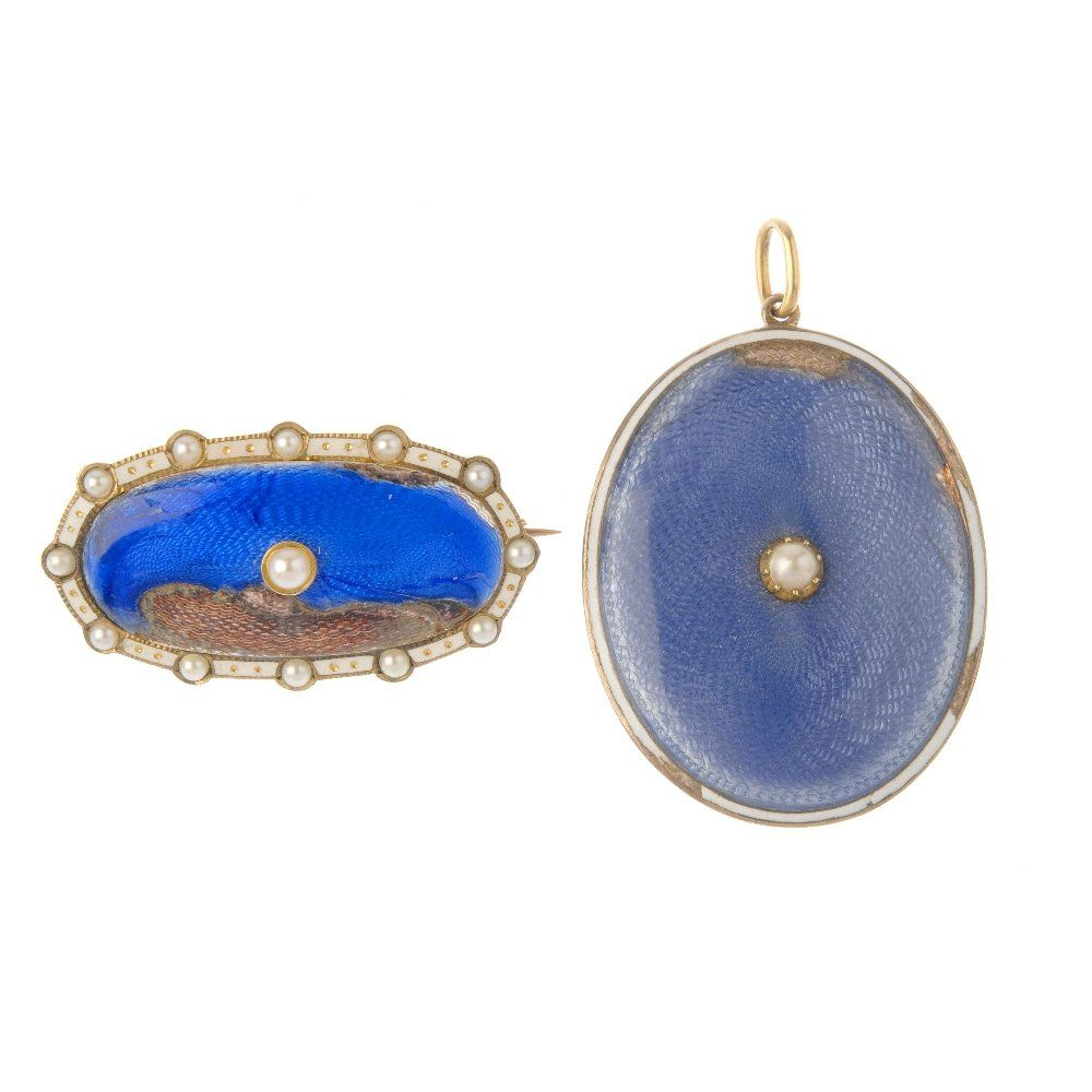 Two items of early 20th century enamel jewellery. To