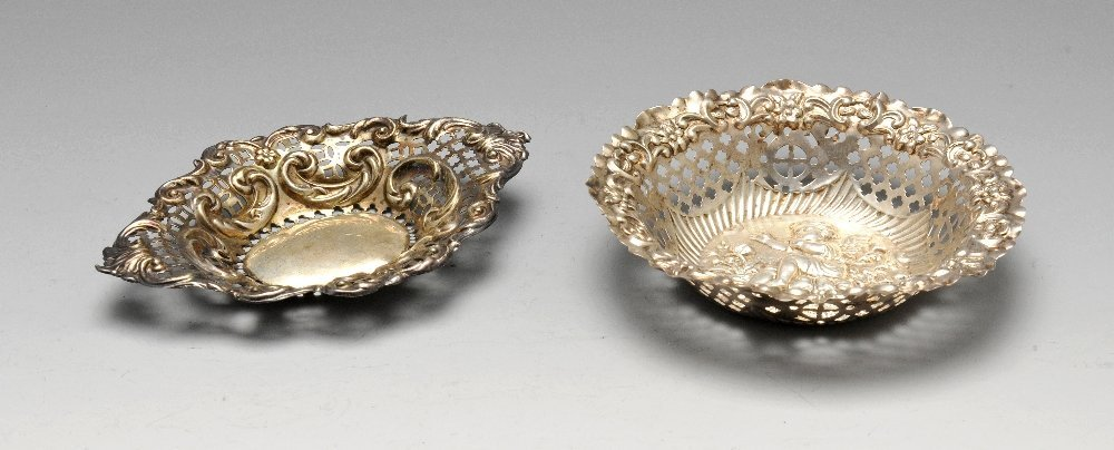 Two late Victorian silver bonbon dishes, one of