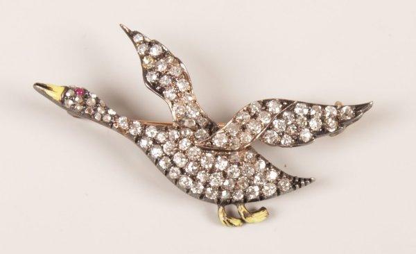 21: Early 20th Century diamond set duck design brooch,