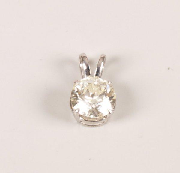 22: 18ct white gold single stone transition cut diamond