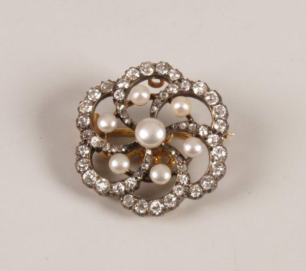 91: Victorian old cut diamond and bouton pearl circular