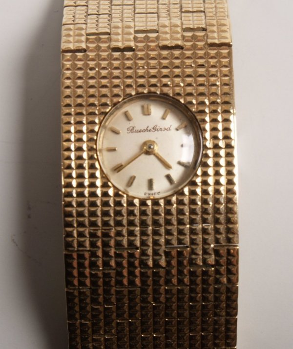 1007: BUECHE GIROD -  ladies 9ct gold 1980's style wide