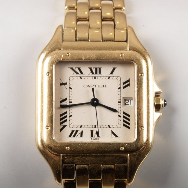 1017: CARTIER - a gentleman's 18ct gold Panthere bracel