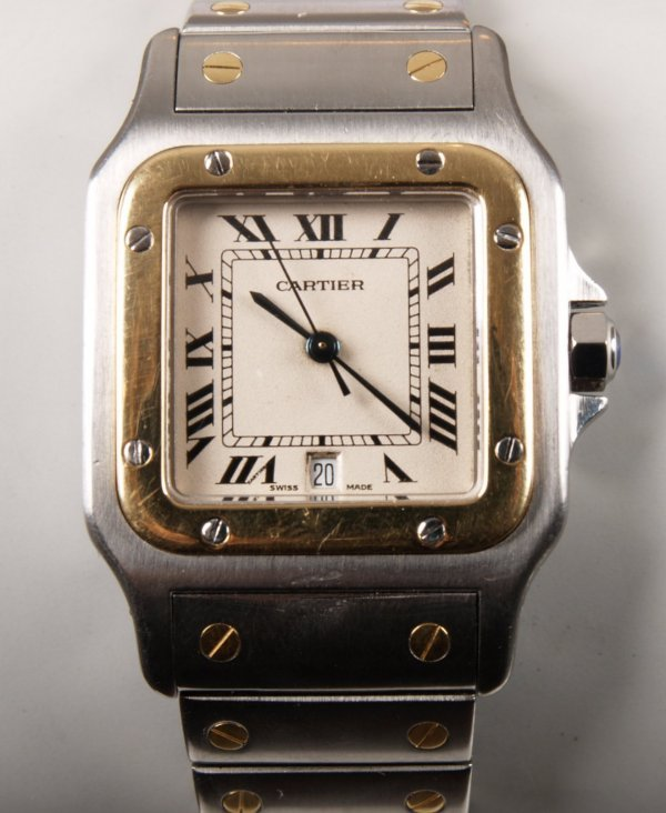 1018: CARTIER - a gentleman's bi-colour Santos with a w
