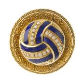 A late Victorian gold enamel and split pearl brooch. Of