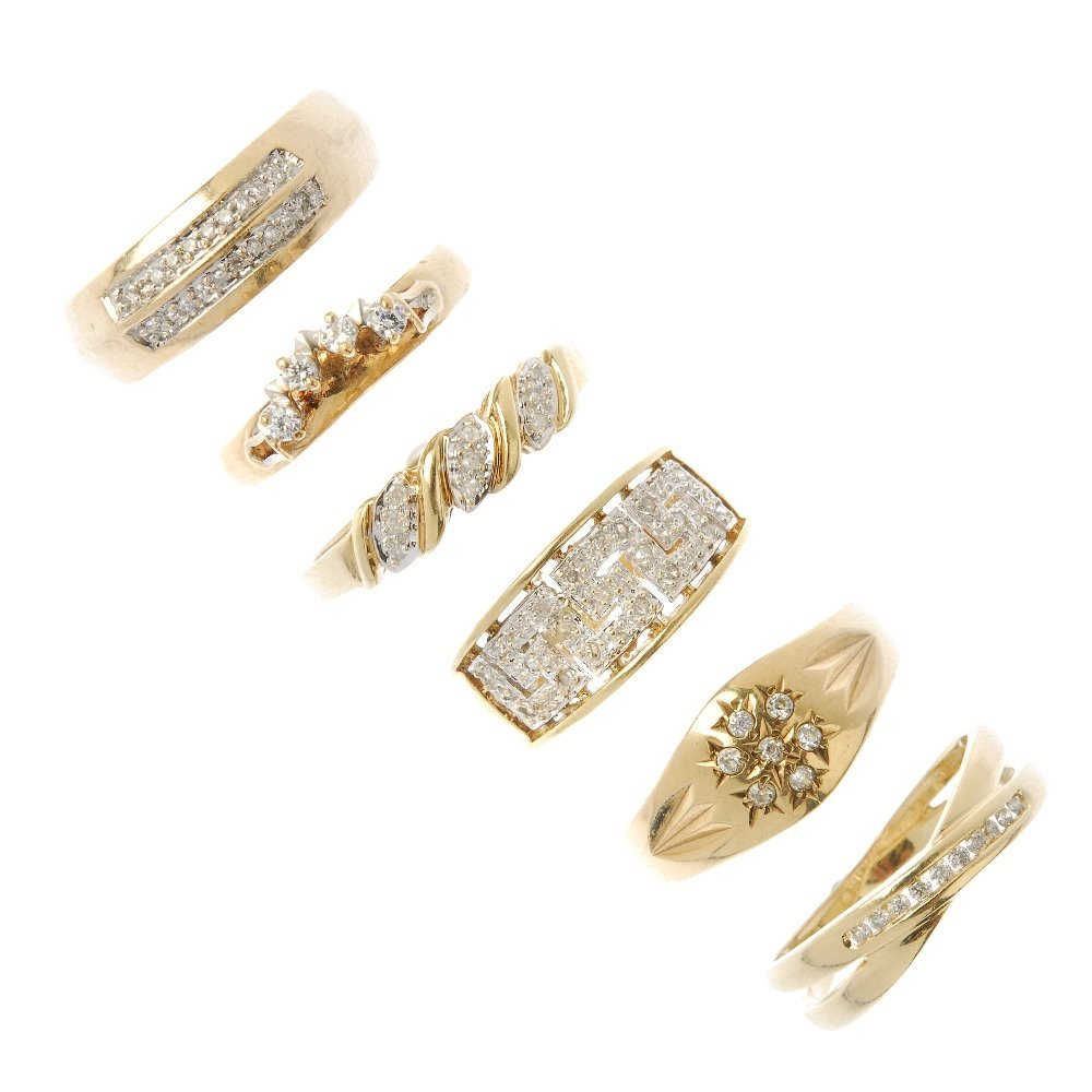 Six diamond and gem-set rings. To include five 9ct gold