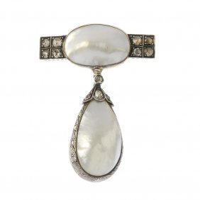 A Mabe Pearl And Diamond Brooch. The Pear-shape Mabe