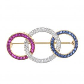 A Ruby, Sapphire And Diamond Brooch. Designed As A