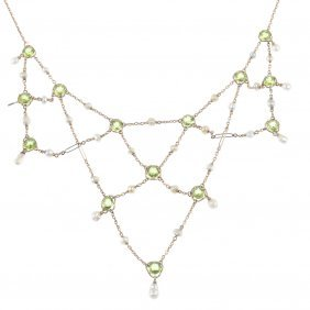 An Early 20th Century 15ct Gold Peridot And Seed Pearl