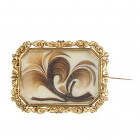 A Late 19th Century Gold Ivory Memorial Brooch. The