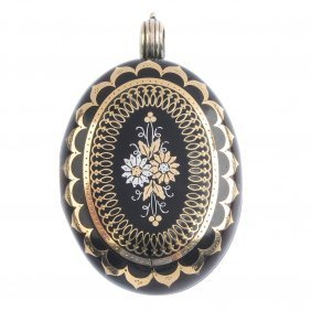 A Pique Tortoiseshell Locket. Of Oval Outline, The