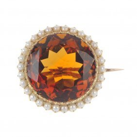 An Early 20th Century 15ct Gold Citrine And Split Pearl