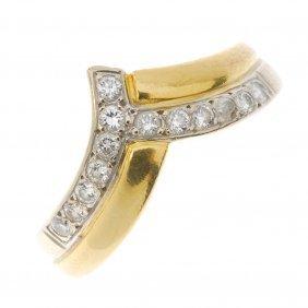 An 18ct Gold Diamond Dress Ring. Of Bi-colour Design,