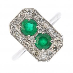An Emerald And Diamond Dress Ring. Of Rectangular