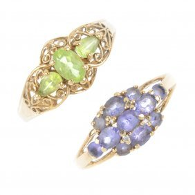 Four Gem-set Dress Rings. To Include An Opal Cabochon