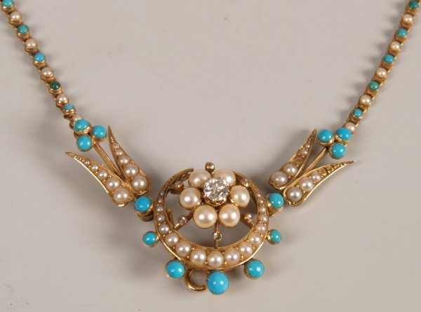 1: Victorian gold mounted diamond, pearl and turquoise