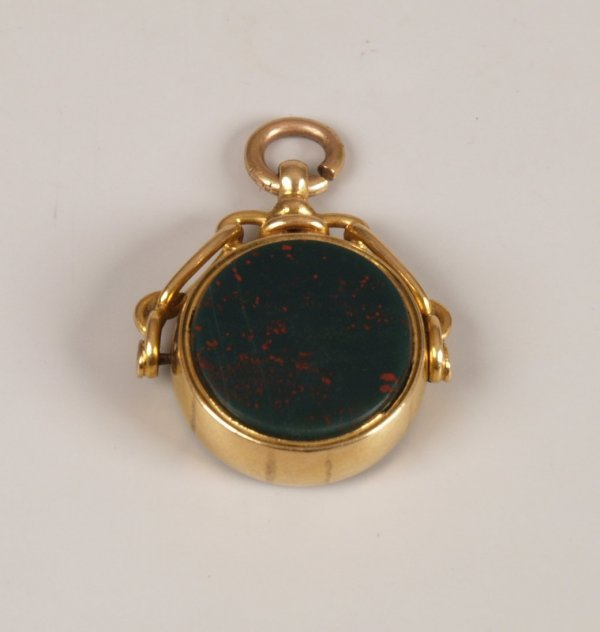 2: 18ct gold swivel fob set bloodstone and cornelian.