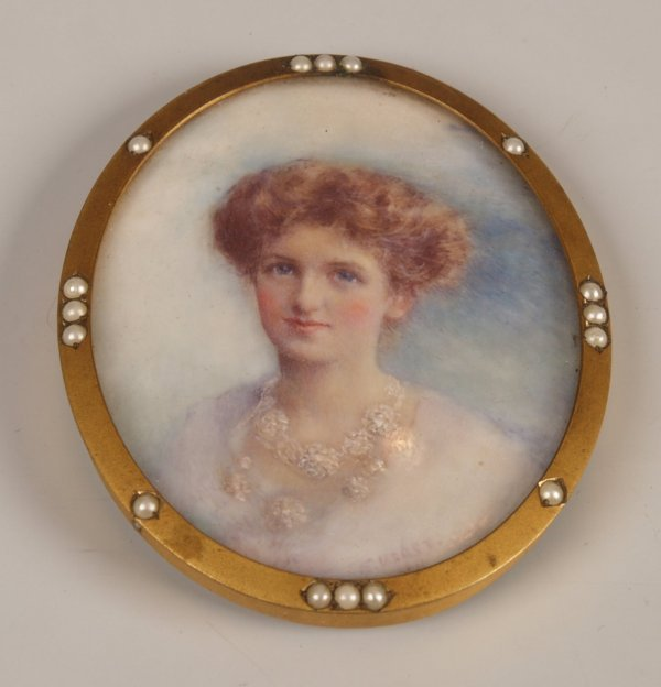 3: Late Victorian hand painted miniature depicting a yo