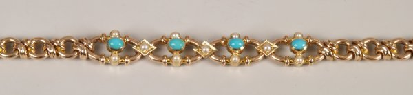 """5: """"15ct gold turquoise and seed pearl set fancy link b"""