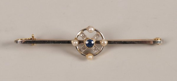 """8: """"18ct gold and platinum, sapphire diamond and seed p"""