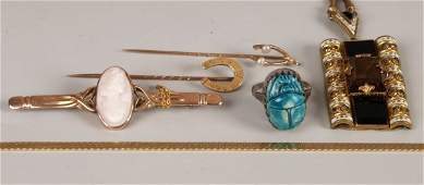 153 Six items of jewellery to include a 9ct gold bar b