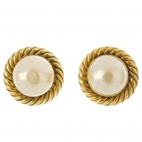 Chanel - A Pair Of Imitation Mabe Pearl Ear-clips. Each