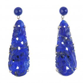 A Pair Of Carved Sodalite Earrings, A Paste Trifari