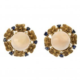 A Pair Of Coral And Sapphire Floral Ear Clips. Each
