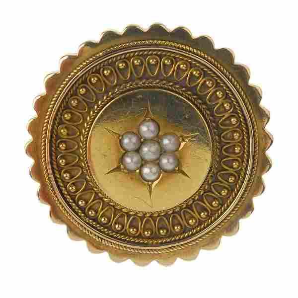 A late Victorian gold split pearl brooch. The split