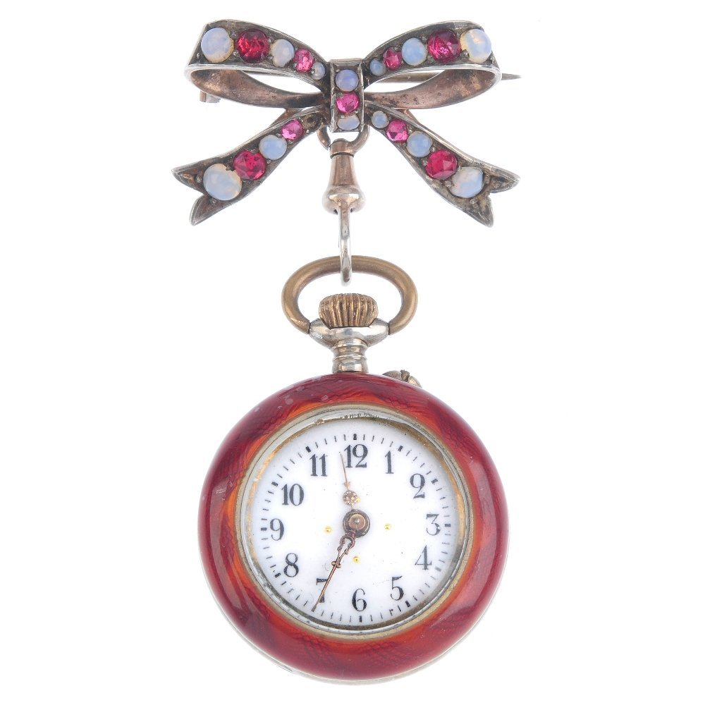 An early 20th century enamel fob watch. The circular