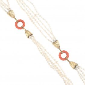(136247) A Coral And Cultured Pearl Necklace And