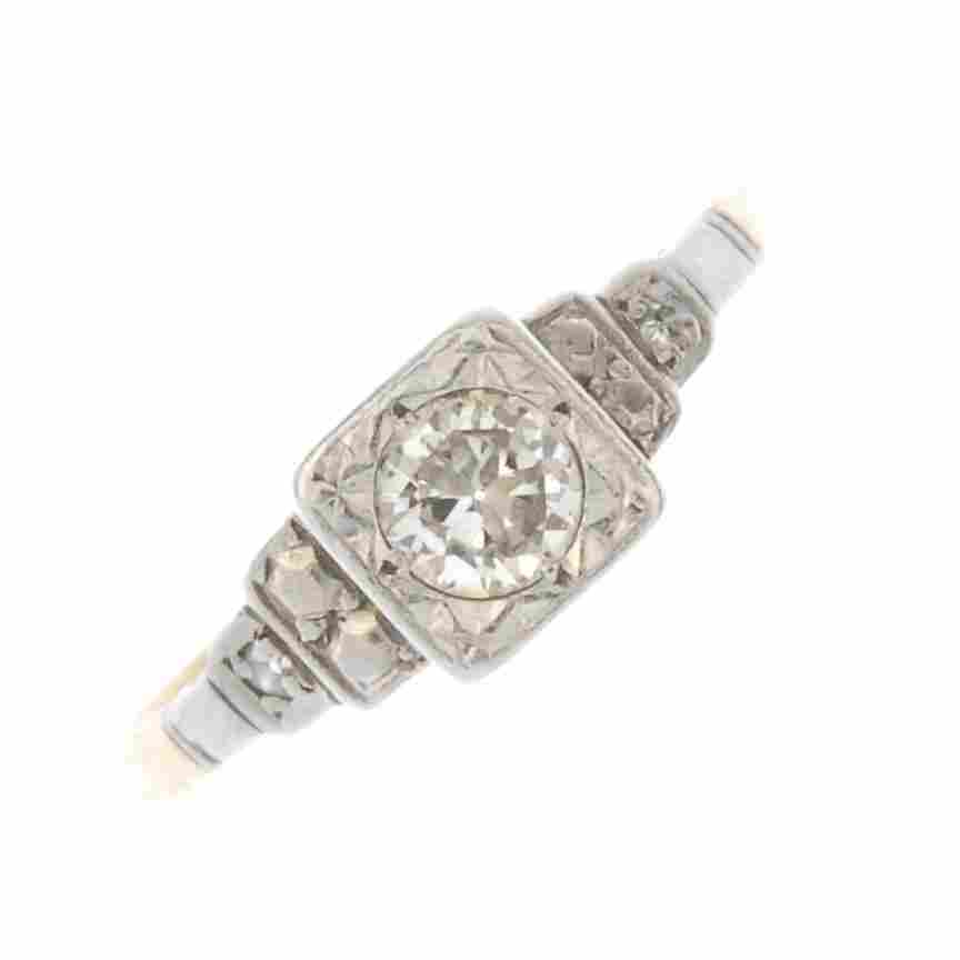 A mid 20th century platinum and 18ct gold diamond